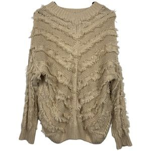 Umgee Knit Round Neck Pullover Sweater with Fringe